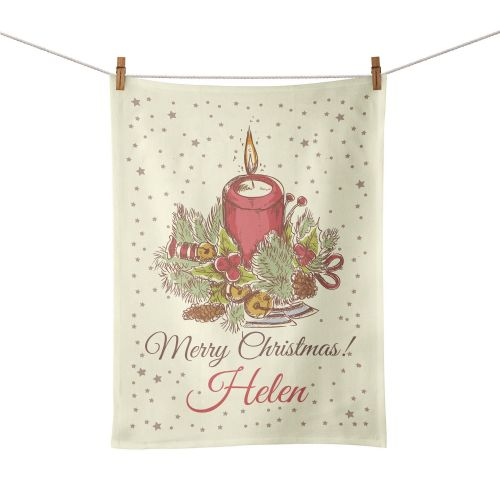 Personalised Christmas Candle Tea Towel - Vintage Design